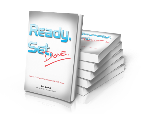 "Book cover design & typesetting: ""Ready, Set, Done!"" by Jim Carroll"